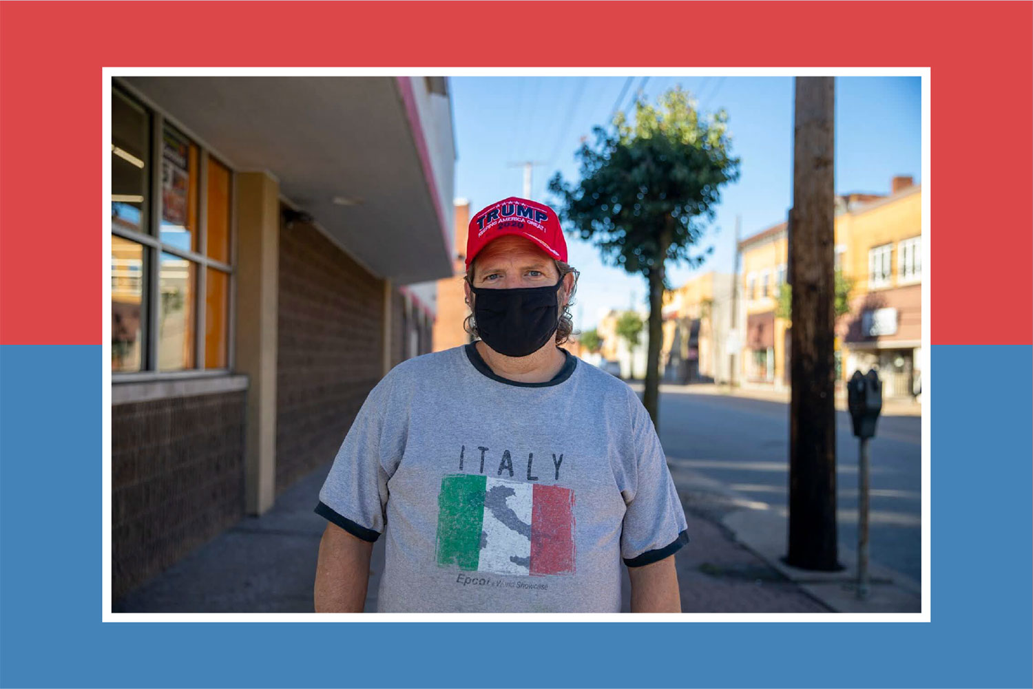 Jim Rocco in a gray shirt that says ITALY stands on a street in Glassport wearing a red TRUMP hat.