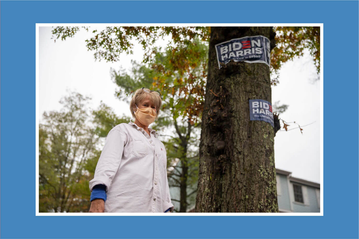 Nancy Beumont masked in a tree in her front yard